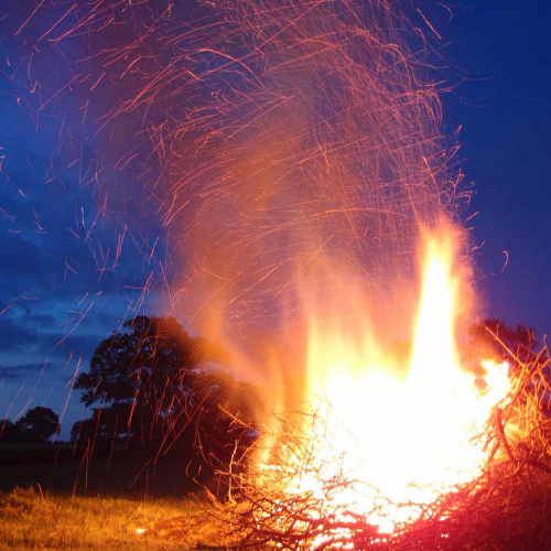 Bonfire at Upper Heath Farm Self Catering Property in South Shropshire