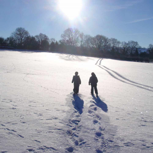 Walking in the wintery snow at Upper Heath Farm in South Shropshire