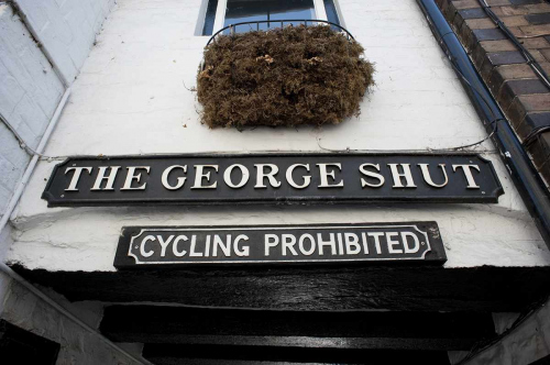 Quirky Street Signs in Much Wenlock Shropshire UK