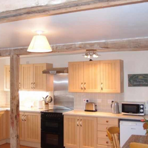 Kitchen inside the cottage at Heath Farm in Craven Arms Shropshire